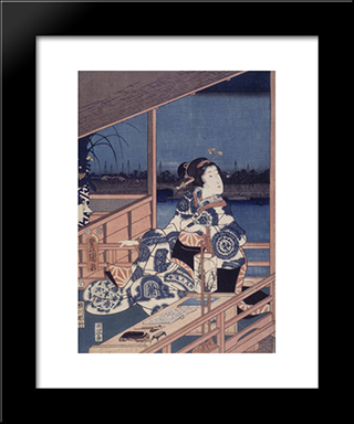 Moonlight View Of Tsukuda With Lady On A Balcony: Modern Black Framed Art Print by Utagawa Kunisada