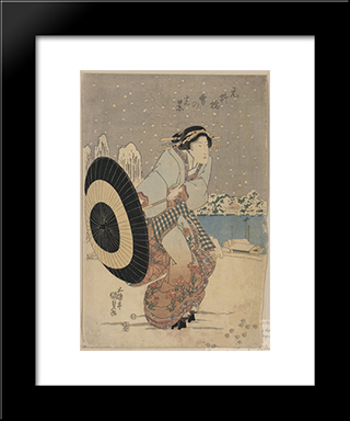Night Snow Scene At Motonoyanagi Bridge: Modern Black Framed Art Print by Utagawa Kunisada