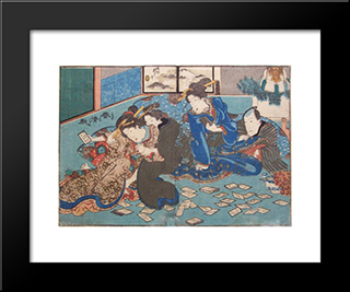 Playing Cards: Modern Black Framed Art Print by Utagawa Kunisada