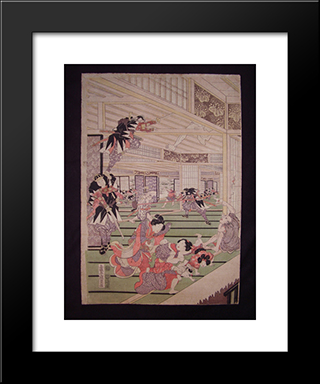 Ronins Attack On The House Of Lord Kira (Left Panel Of A Triptych): Modern Black Framed Art Print by Utagawa Kunisada