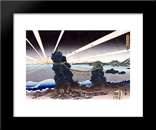 Seascape: Modern Black Framed Art Print by Utagawa Kunisada