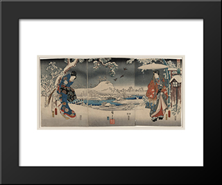 Snowy Landscape With A Woman Brandishing A Broom And A Man Holding An Umbrella: Modern Black Framed Art Print by Utagawa Kunisada
