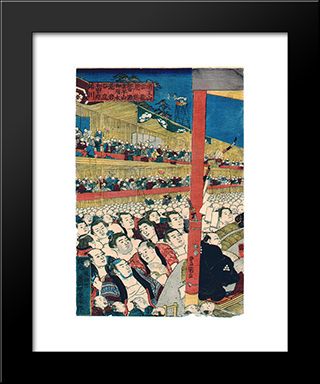 Sumo Spectators: Modern Black Framed Art Print by Utagawa Kunisada