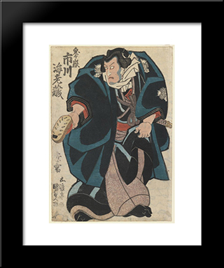 The Actor In The Ichikawa Family: Modern Black Framed Art Print by Utagawa Kunisada