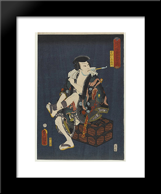 The Actor Kataoka Nizaemon Viii As Kumokiri Nizaemon: Modern Black Framed Art Print by Utagawa Kunisada