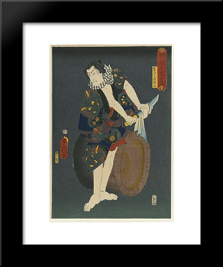 The Actor Kawarazaki Gonjuro I As Osarabakuzo Denji: Modern Black Framed Art Print by Utagawa Kunisada