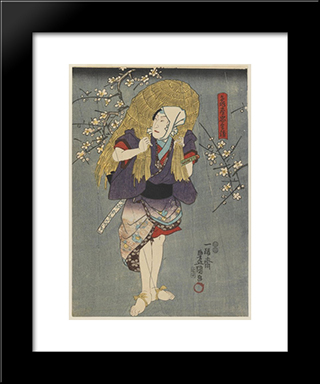 The Actor Playing A Farmer: Modern Black Framed Art Print by Utagawa Kunisada