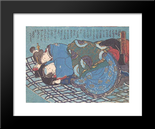 The Blue Futon: Modern Black Framed Art Print by Utagawa Kunisada
