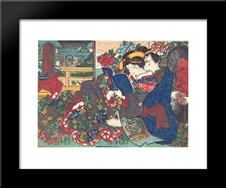 The Book: Modern Black Framed Art Print by Utagawa Kunisada
