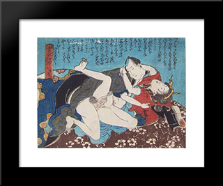 The Brown Futon: Modern Black Framed Art Print by Utagawa Kunisada