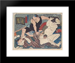 The Fight: Modern Black Framed Art Print by Utagawa Kunisada