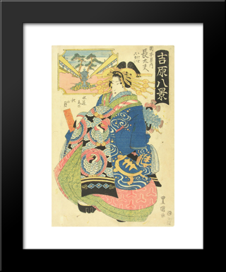 Courtesan Choto With Two Kamuro (Young Attendants) Behind Her: Modern Black Framed Art Print by Utagawa Toyokuni II
