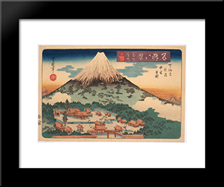 Evening Snow On Fuji From A Set Of Eight Famous Views Published By Iseya Rihei: Modern Black Framed Art Print by Utagawa Toyokuni II