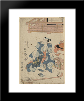 Actor Ichikawa Ebijuro, Seated On Floor With Shamisen At His Feet: Modern Black Framed Art Print by Utagawa Toyokuni