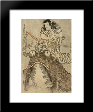 Actor Onoe Eizaburo I As A Magician With A Giant Toad: Modern Black Framed Art Print by Utagawa Toyokuni