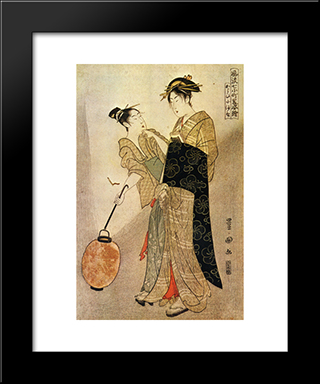 Courting Komachi: Modern Black Framed Art Print by Utagawa Toyokuni