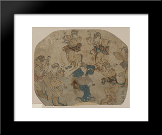 Dance: Modern Black Framed Art Print by Utagawa Toyokuni