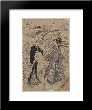 Fishing Net: Modern Black Framed Art Print by Utagawa Toyokuni