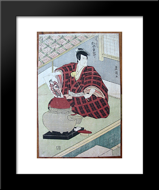 Ishikawa Goemon Pulling A Painting Of Himself Out Of A Lidded Jar: Modern Black Framed Art Print by Utagawa Toyokuni