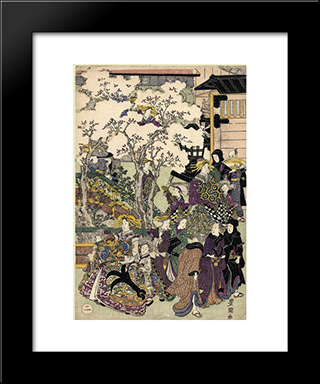 The Promenade: Modern Black Framed Art Print by Utagawa Toyokuni
