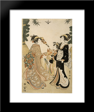 Three Beauties Playing Battledore And Shuttlecock: Modern Black Framed Art Print by Utagawa Toyokuni