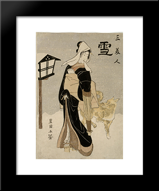 Three Beauties Snow: Modern Black Framed Art Print by Utagawa Toyokuni