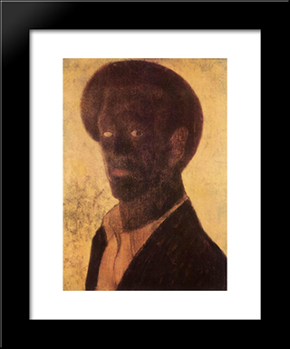 Black Self-Portrait: Modern Black Framed Art Print by Vajda Lajos