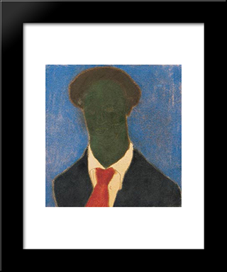 Dark Self-Portrait: Modern Black Framed Art Print by Vajda Lajos