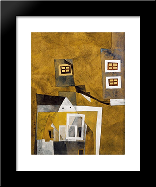 Floating Houses: Modern Black Framed Art Print by Vajda Lajos