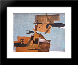 Houses At Szentendre With Crucifix: Modern Black Framed Art Print by Vajda Lajos