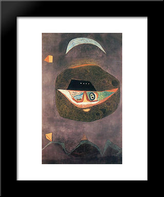 Mask With Moon: Modern Black Framed Art Print by Vajda Lajos