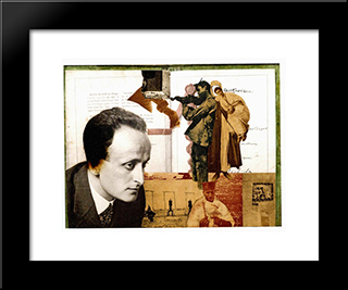 Montage With The Portrait Of Lajos Szabo: Modern Black Framed Art Print by Vajda Lajos