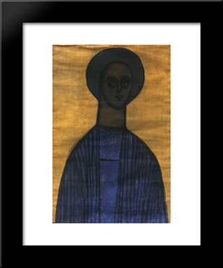 Self Portrait With Icon: Modern Black Framed Art Print by Vajda Lajos