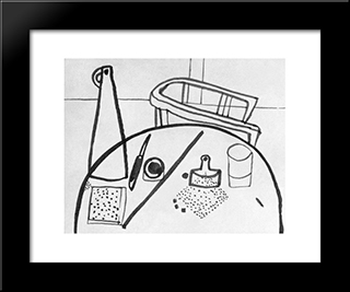 Table Still-Life With Armchair: Modern Black Framed Art Print by Vajda Lajos
