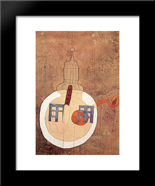 Tower With Still-Life On A Plate: Modern Black Framed Art Print by Vajda Lajos