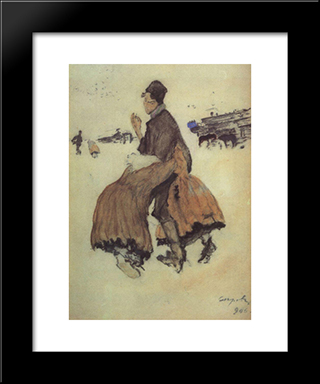 A Recruit: Modern Black Framed Art Print by Valentin Serov