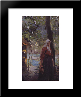 A Woman With A Jug: Modern Black Framed Art Print by Valentin Serov