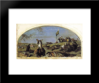 After The Battle Of Kulikovo: Modern Black Framed Art Print by Valentin Serov