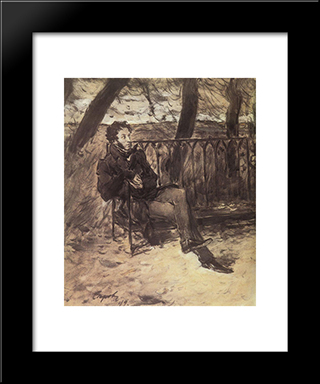Alexander Pushkin In A Park: Modern Black Framed Art Print by Valentin Serov