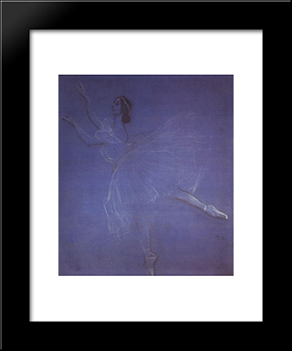 Anna Pavlova In The Ballet Sylphyde: Modern Black Framed Art Print by Valentin Serov