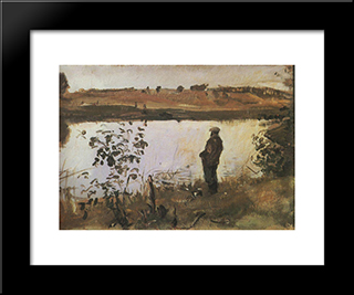 Artist K. Korovin On The River Bank: Modern Black Framed Art Print by Valentin Serov