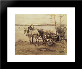 At The Ferry: Modern Black Framed Art Print by Valentin Serov