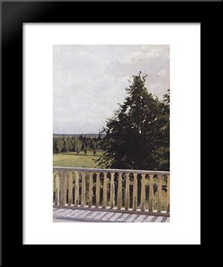Balcony: Modern Black Framed Art Print by Valentin Serov