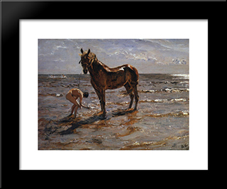 Bathing A Horse: Modern Black Framed Art Print by Valentin Serov