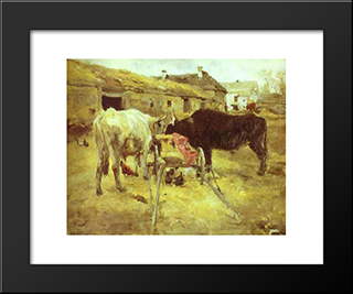 Bullocks: Modern Black Framed Art Print by Valentin Serov