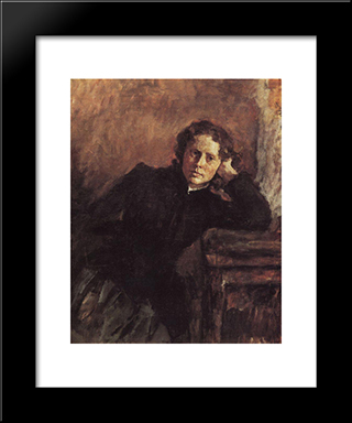 By The Window. Portrait Of Olga Trubnikova: Modern Black Framed Art Print by Valentin Serov