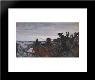 Catherine Ii Setting Out To Hunt With Falcons: Modern Black Framed Art Print by Valentin Serov