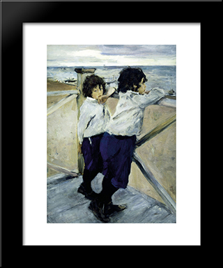 Children. Sasha And Yura Serov: Modern Black Framed Art Print by Valentin Serov
