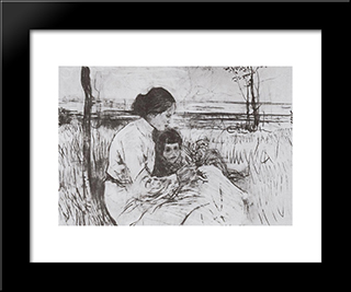 Children Of The Artist. Olga And Anton Serov: Modern Black Framed Art Print by Valentin Serov