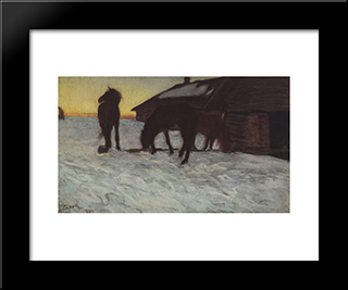 Colts At Watering Place. Domotcanovo: Modern Black Framed Art Print by Valentin Serov